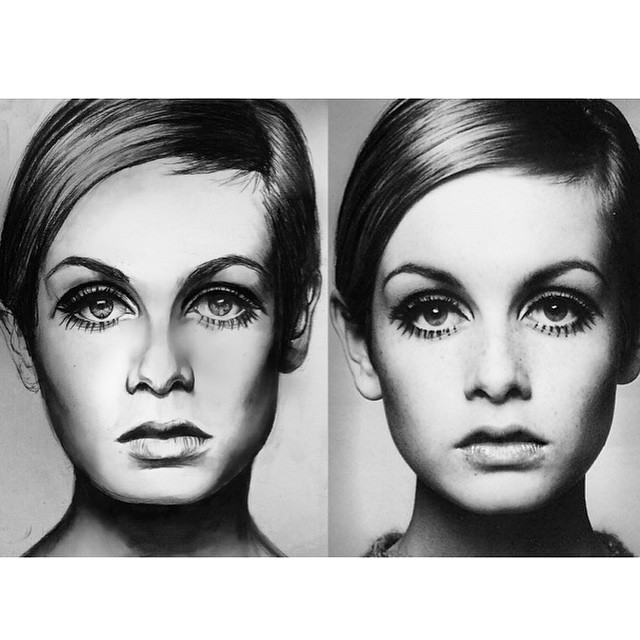 """Even at a close glance, the two images above look the same. The image on the left is Lauren's drawing of """"Twiggy,"""" an English model, actress, and singer. The image on the right is a photograph of her. Photo courtesy of Lauren Newton '18."""