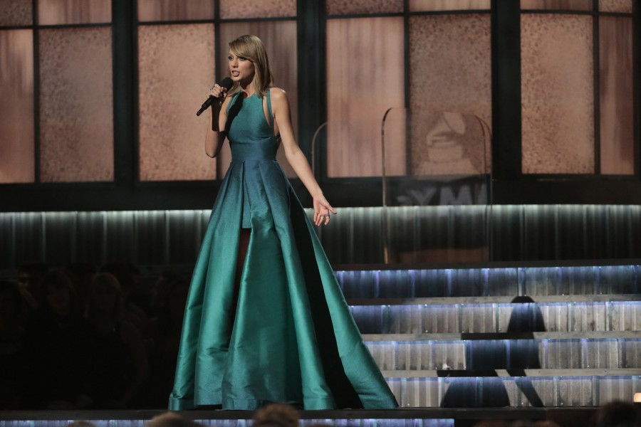 Taylor Swift on stage at the 57th Annual Grammy Awards at Staples Center in Los Angeles on Sunday, Feb. 8, 2015. (Robert Gauthier/Los Angeles Times/TNS)