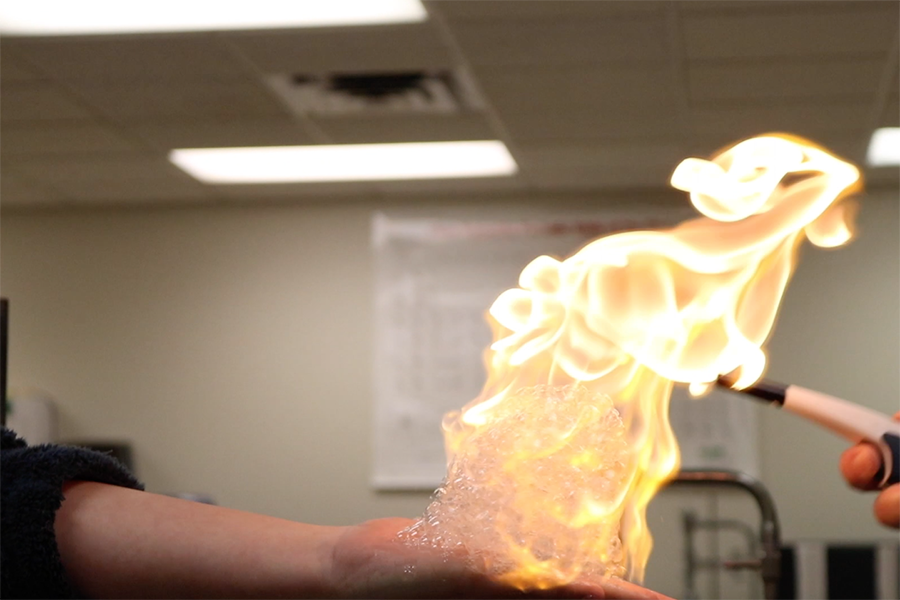 The chemistry classes learned the safe way to play with fire last week in a methane lab.
