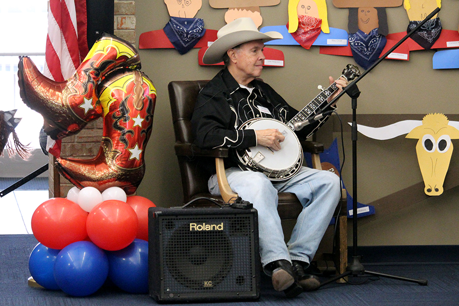 Dan Bloch H'06 plays the banjo at the Kindergarten Rodeo for the 50th time.