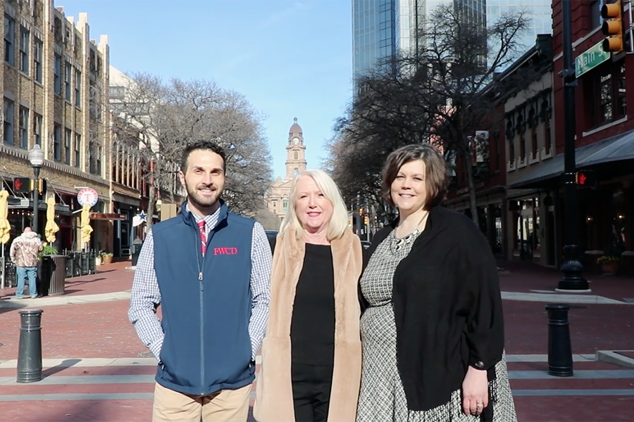 Associate Director of College Counseling Charlie Runyan, College Counseling Assistant Terri Hutton, and Director of College Counseling Kristin Larsen are ready to share Fort Worth's Sundance Square with the college counseling community.