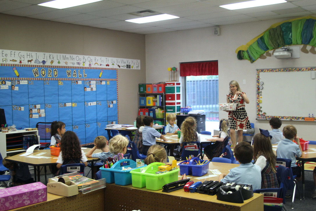 Laurie Brown's Kindergarten class works on an assignment.