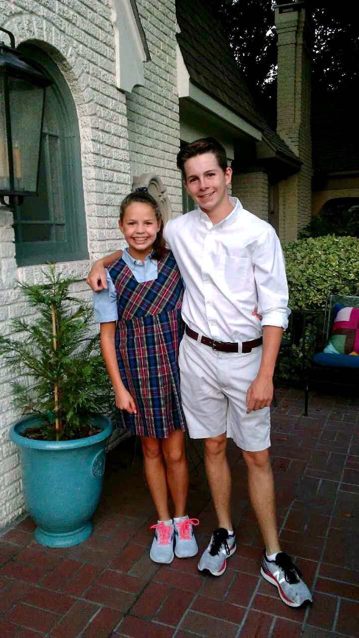 Aidan Shackelford '22 and his sister, Lainey Shackelford '26 leaving for their first day of school.