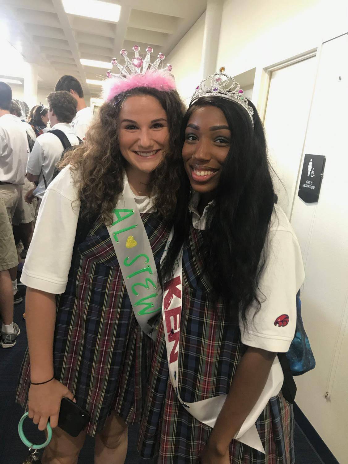 Allie Stewart '20 and Kennedy Smith '20 are queens for the day on their first day back at school as seniors.