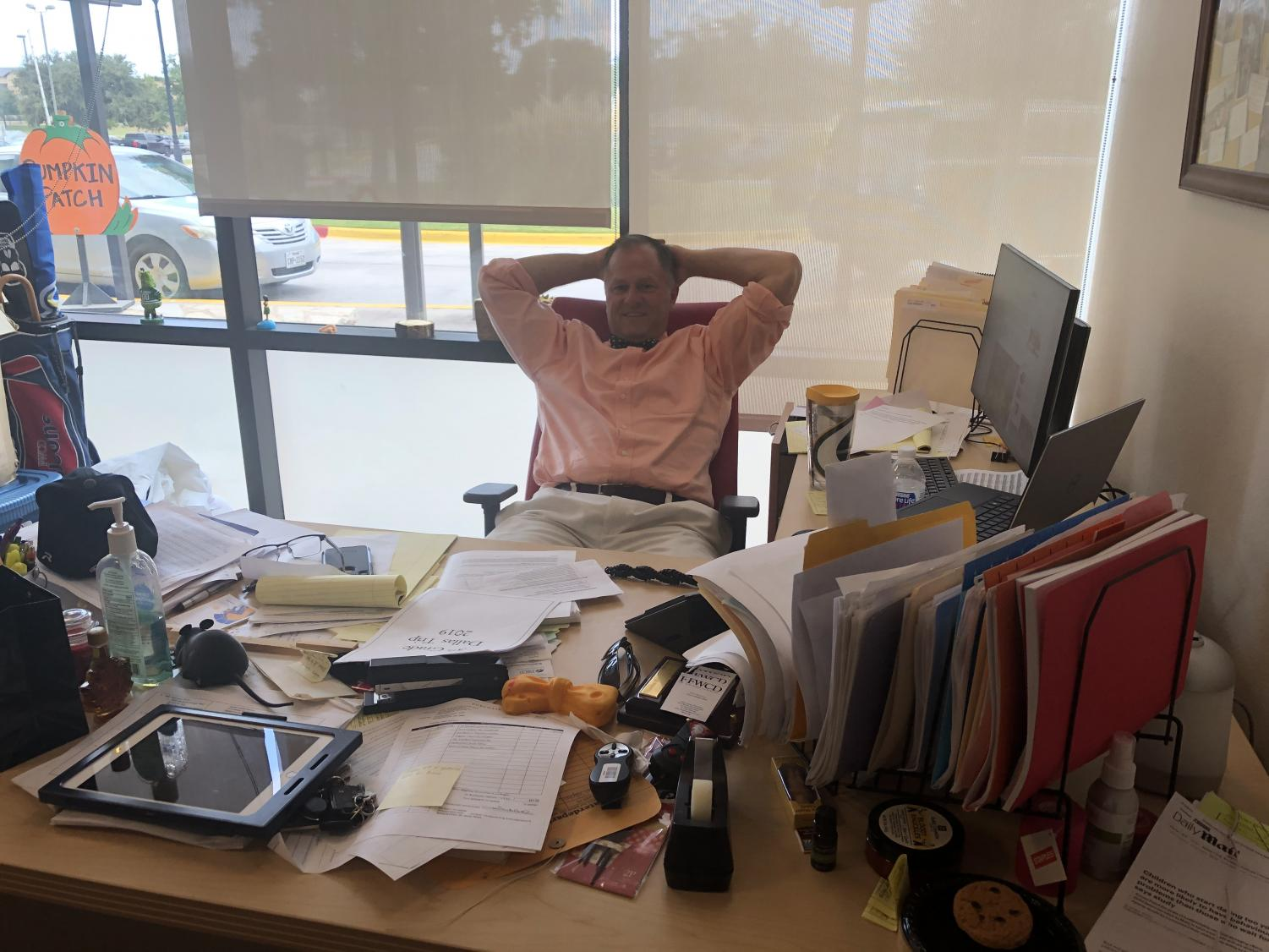 MS Division Head John Stephens relaxes after a long day.