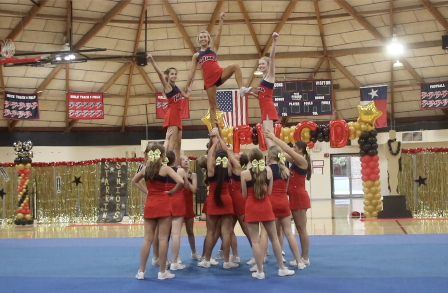 Cheerleaders performed a Hollywood-themed cheer routine at the pep rally.