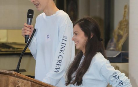 Christopher Hoppe '21 and classmate Paloma Casanova '21 lead the new student orientation in August.