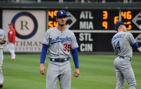 Los Angeles Dodgers outfielder and 2019-20 NL MVP Cody Bellinger warms up before a game. Photo Courtesy of Wikimedia Commons.