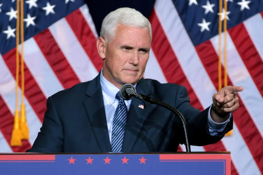 Vice+President+Mike+Pence+talks+to+a+group+of+supporters.