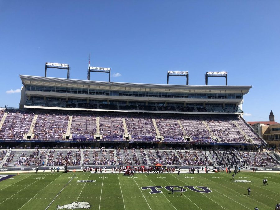 TCU+football+stadium+was+at+25%25+capacity+during+the+TCU+vs.+Iowa+State+game+on+Sept.+26.