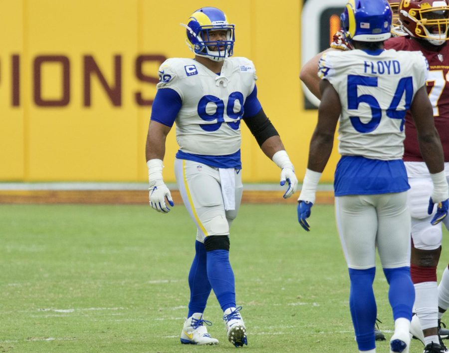 Aaron Donald (99) on the field in a game against the Washington Football Team, in which he recorded four sacks and a forced fumble.