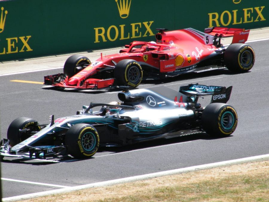 Ferrari's Sebastian Vettel and Mercedes' Lewis Hamilton race in a 2018 Grand Prix.