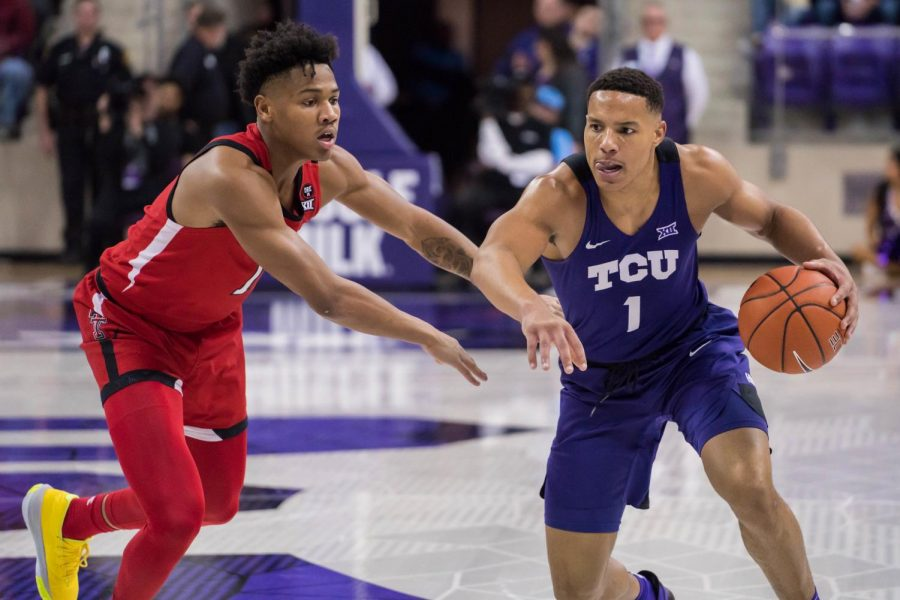 Guard Desmond Bane drives in for a layup against Texas Tech in early 2020. Bane has now graduated from TCU and is beginning his NBA career with the Memphis Grizzlies.