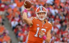 Trevor Lawrence throws a pass against North Carolina State on October 20, 2018.