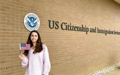 Jacqui Cook 22 celebrates after getting her US citizenship.