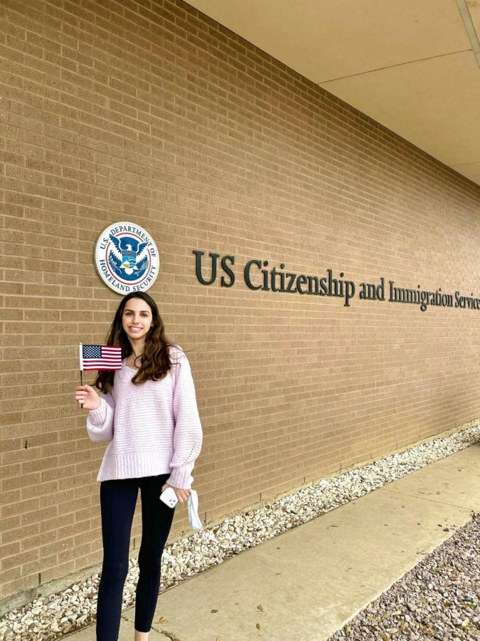 Jacqui Cook '22 celebrates after getting her US citizenship.