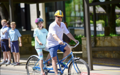 MS Division Head John Stephens and Anna Rollins 26 participate in the Bike-a-Thon in 2019.