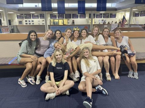 During the senior back to school party in August, some senior girls spent tine on the senior bench. Photo courtesy of Anna Hooton 22.